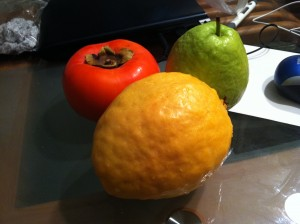 Comparison of colors to a persimmon and a regular green guava. Also, it is almost the end of persimmon season and I'm greedily eating as many as possible.