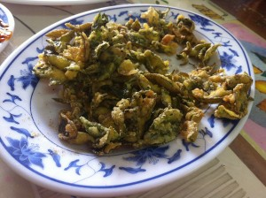 """The mentality of """"what can't we deep fry"""" has led to many things, including this dish of deep fried tea leaves. It was delicious."""